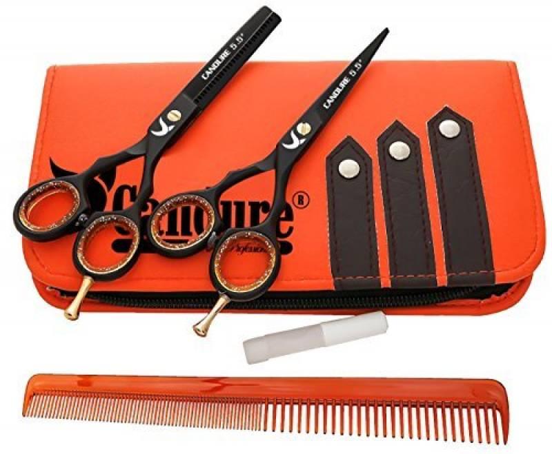 """Ciseaux de coiffure - Ciseaux Barber Salon - Ciseaux - Ciseaux de coupe de cheveu - 5.5"""" Fix Noir Vis profonde Couper les cheveux Ciseaux - Ciseaux Coupe Effile TOP 11 image 0 produit"""