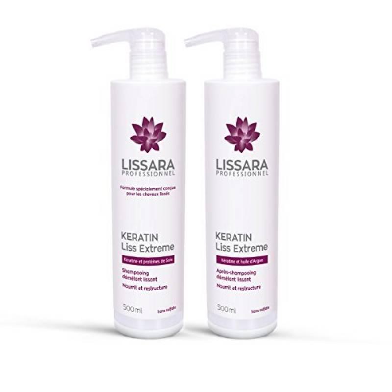 Duo Shampoing et Après-Shampoing Sans Sulfate - à la kératine - Prolongateur Apres Lissage Brésilien - 2 x 500ml de la marque Lissara TOP 6 image 0 produit