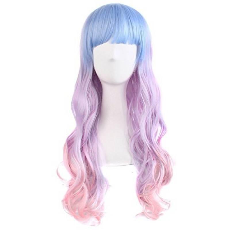 MapofBeauty 70cm/ 28 Pouce Longue Bouclé Femmes Bouclé Perruques (Léger Bleu/Léger Violet/Rose) de la marque MapofBeauty TOP 7 image 0 produit
