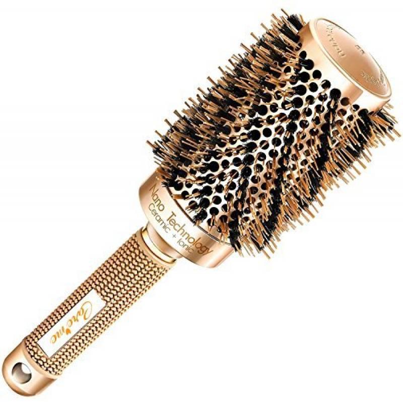 Meilleure brosse à cheveux ronde avec poils en sanglier naturels pour sèche-cheveux (5,3 cm) - Outil élégant de cheveux de qualité de salon profession pour Chev TOP 12 image 0 produit