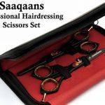 """Saaqaans SQKIT Professionnels Rasoir 6"""" Ciseaux de coiffure et de Coupe de Cheveux Amincissement Ciseaux Avec un Peigne et Rasoir en noir élégant étui de la mar TOP 1 image 2 produit"""