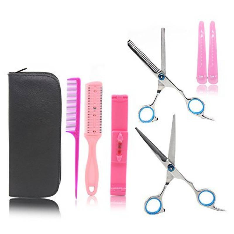 Xcellent Global Ciseaux de coiffure une trousse avec un kit de différents ciseaux et barettes pour les cheveux, pour se faire la frange, des ciseaux pour couper TOP 4 image 0 produit