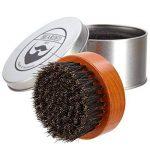 BEARDED BEN brosse à barbe avec des poils de sanglier et une boite de rangement de haute qualité pour un soin de la barbe professionnel ( brune, diamètre : 5 cm TOP 1 image 0 produit