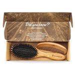 Brosse à Cheveux Bambou en Poils de Sanglier Avec Tiges Démêlantes. Excellentes Pour Démêler les Cheveux, les Tiges Dirigent les Cheveux vers les Poils de Sangl TOP 4 image 2 produit