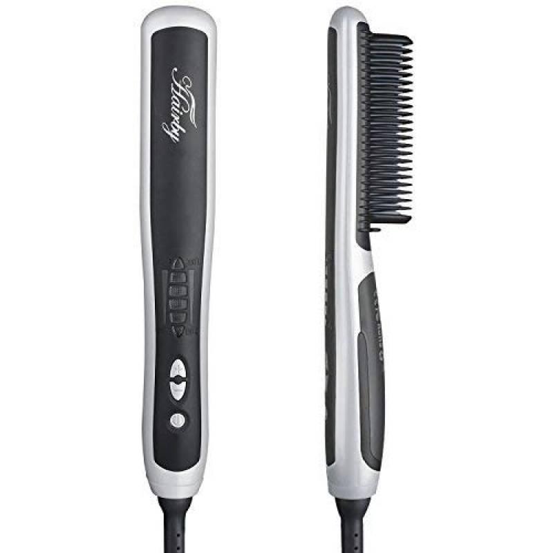 Hairby Brosse Lissante avec LCD Céramique Ion Fer à Lisser Anti-brûlure Chauffage Rapide pour Cheveux Raides et Bouclés Temperature reglable,Anti-Brûlure de la TOP 6 image 0 produit