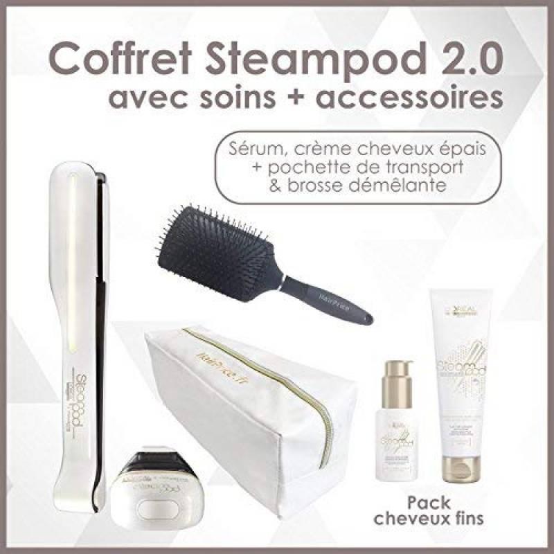 L'oreal - Pack Fins Steampod 2.0 trousse glossy + brosse démêlante - fer à lisser vapeur nouvelle génération + Sérum + Creme de lissage cheveux fins + trous TOP 3 image 0 produit