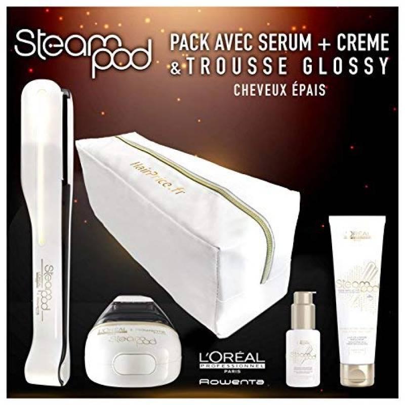 L'oreal - Pack Steampod 2.0 trousse glossy - fer à lisser vapeur nouvelle génération + Sérum + Lait creme de lissage cheveux épais + trousse glossy de range TOP 9 image 0 produit