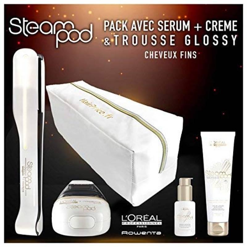 L'oreal - Pack Steampod 2.0 trousse glossy - fer à lisser vapeur nouvelle génération + Sérum + Lait de lissage cheveux fins + trousse glossy de rangement de TOP 11 image 0 produit