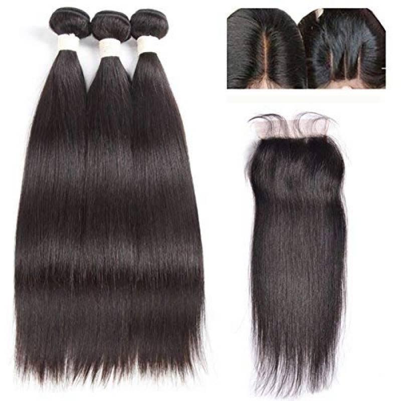 """Moresoo 3 Bundles Tissage Bresilien en lot pas cher avec Trois Part Lace Closure Cheveux Humains Tissage Weaving Extensions Remy Human Hair(28""""28""""28""""+16"""") de la TOP 6 image 0 produit"""