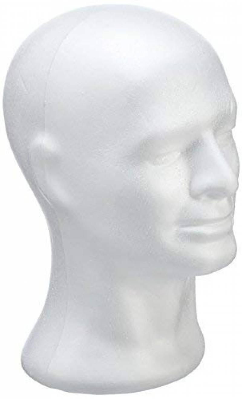 Rayher tête masculine en polystyrène – tete de mannequin pour affichage – tete de mannequin homme idéal pour présenter les chapeaux, perruques – blanc de la mar TOP 3 image 0 produit